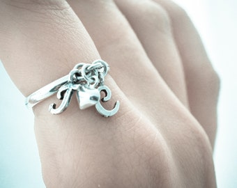 Initial Charm Ring. Sterling Silver Initial Ring. Dangle Ring. Personalized Jewelry. Initial Jewelry.