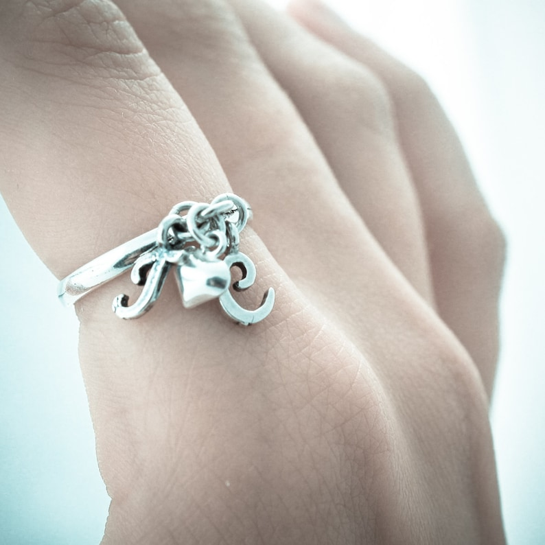 Initial Charm Ring. Sterling Silver Initial Ring. Dangle Ring. image 0