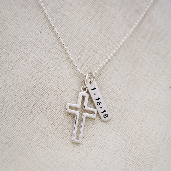 BOYS Custom CROSS Necklace For First COMMUNION Sterling Tag First Communion Name and Date Boys Necklace Pick Ball Chain or Leather