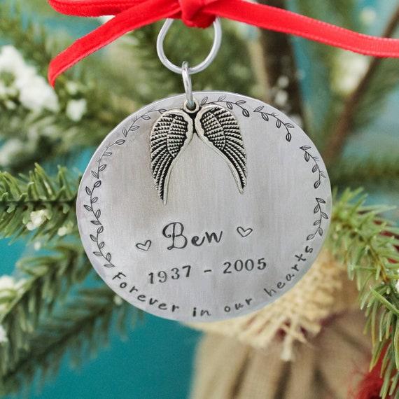 memorial Keepsake ornament,hand stamped ornament custom name in memory of ornament Personalized memorial Christmas ornament sympathy gift