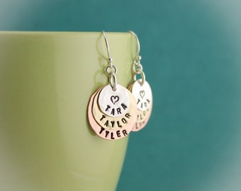 Layered Hand Stamped Personalized Sterling Silver Copper and Brass Earrings