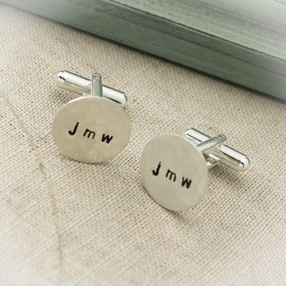 Personalized mens Custom hand stamped Sterling Silver Best Man Wedding Cufflinks Groomsmen gift