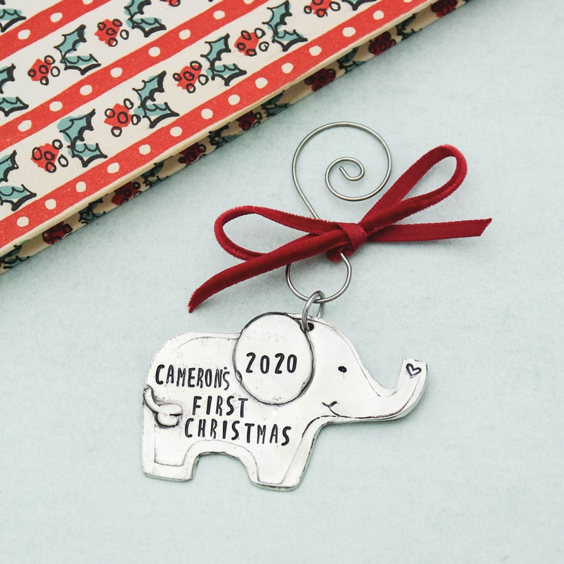 Personalized Baby's First Christmas Ornament Elephant image 0