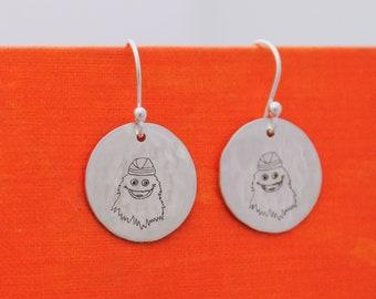 Gritty Earrings in Sterling Silver Philadelphia Flyers Mascot Jewelry