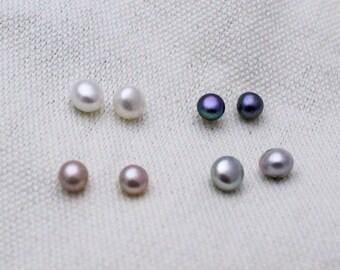 Freshwater Pearl Studs in White, Black, Pink, or Grey Sterling Silver Pearl Stud Posts, Timeless Pearl Studs, Minimalist Stud Earrings