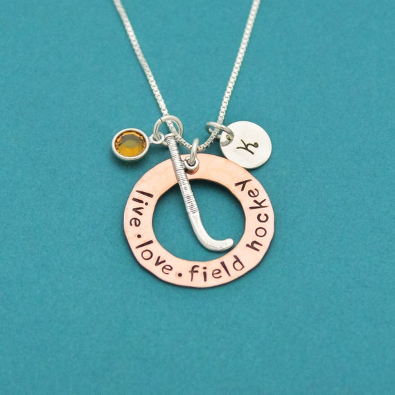 STERLING SILVER HOCKEY FIELD HOCKEY STICK CHARM WITH BOX CHAIN NECKLACE
