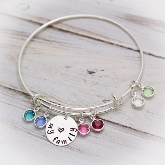 394ddfd2e0550 Grandma or Mom Bangle Bracelet with Birthstones in Silver, Grandmother  Bangle with Grandchildren Charms, Mom Bracelet with Children Charms