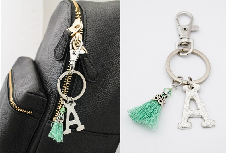 Birthday Gift for Her Birthstone Gifts for Her Personalized Keychain Purse Charm August Birthstone Keychain Initial Letter Key Chain