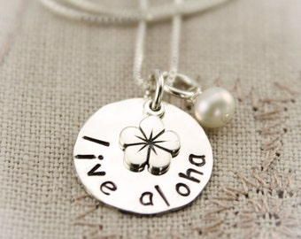 Live Aloha Necklace, Aloha Hawaiian Plumeria Jewelry, Aloha Gift, Hawaiian Gift, Personalized Hand Stamped Sterling Silver Necklace