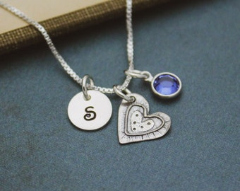 Cute September Birthstone Initial Necklace, Sapphire Heart Jewelry, September Birthday Gift, September Birthstone Jewelry, Sterling Silver