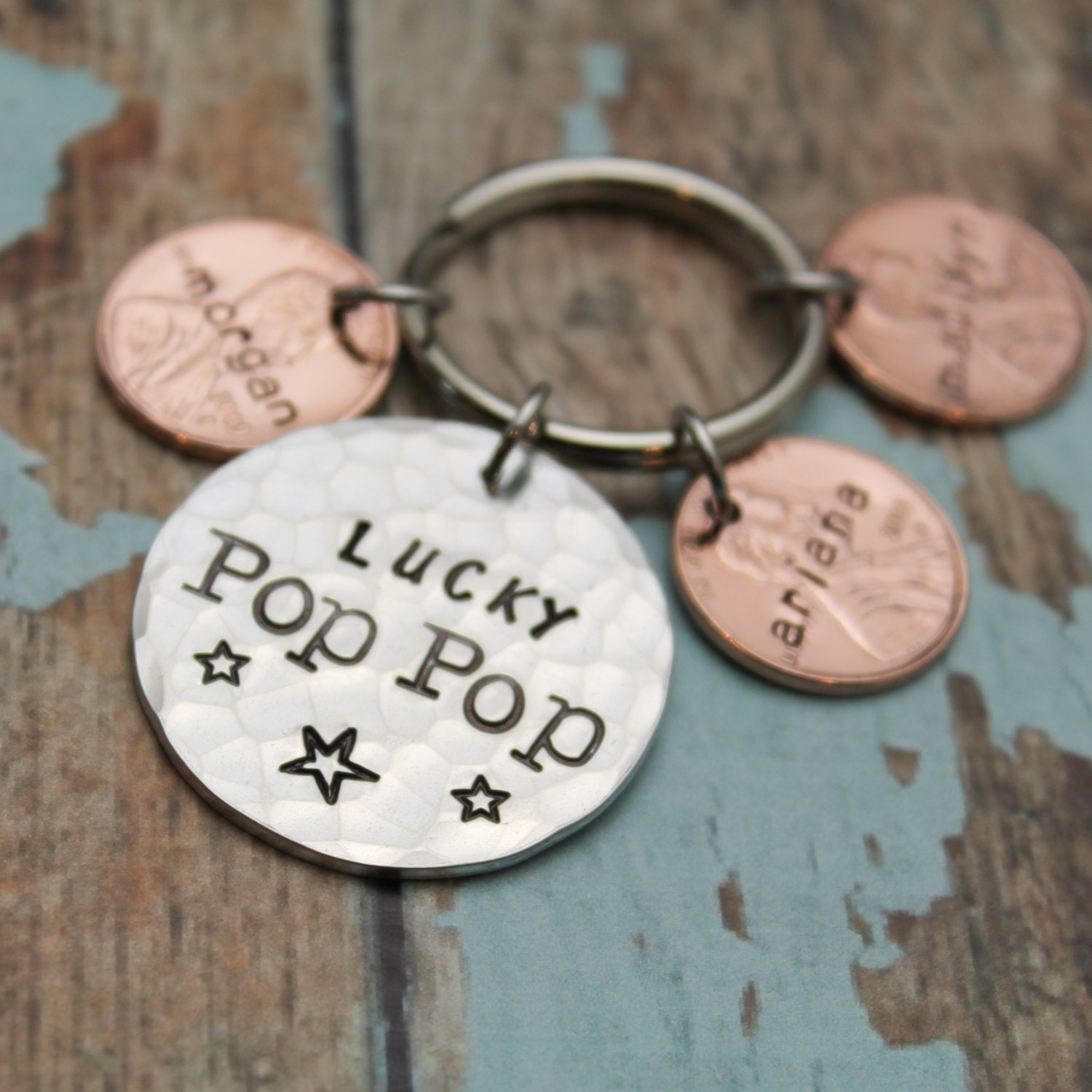 Gift for Dad Penny Keychain Gift for Papa Gift for Grandpa Lucky Papa Lucky Dad Father/'s day.