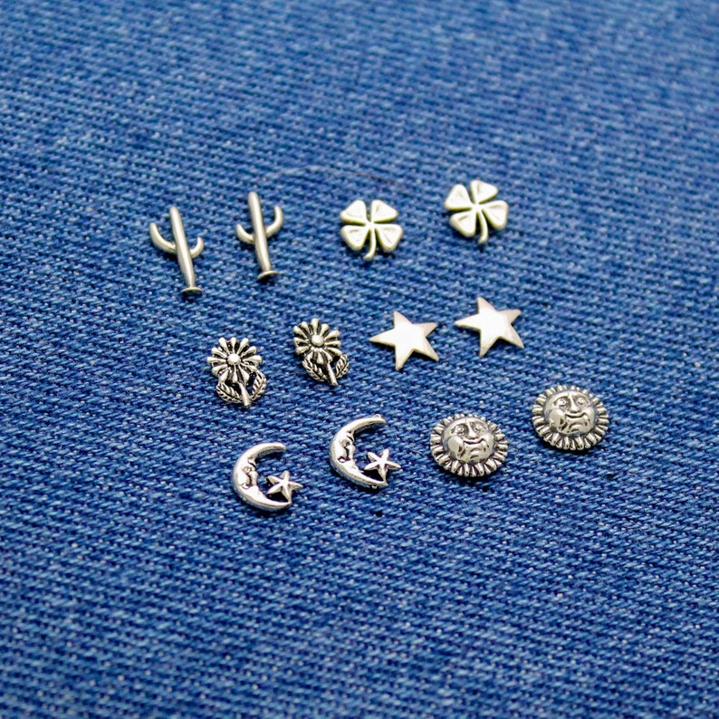 Flower and Celestial Studs in Sterling Silver Sun Moon with image 0