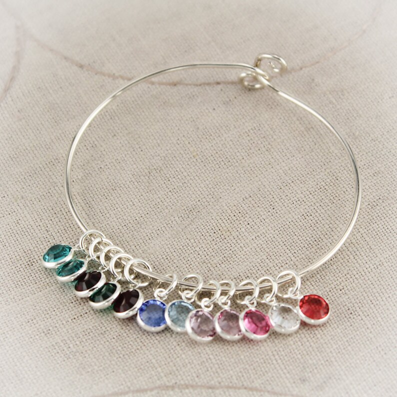 3e38ccb3c6bc5 Mother or Grandmother Charm Bangle Bracelet in Sterling Silver with  Birthstones