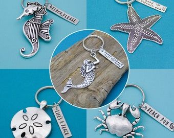 Mermaid Keychain, Sand Dollar Keychain, Starfish Keychain, Crab Key Chain, Sea Horse Key Chain, Beach Lover Gifts, Personalized Hand Stamped