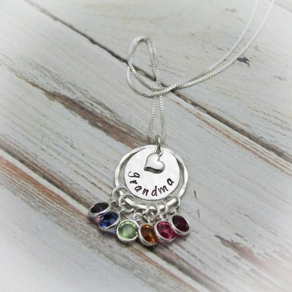 Grandma Necklace Grandmother Necklace Birthstone Necklace Etsy