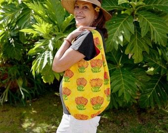 Holoholo Shoulder Bag - Yellow with Ōhiʻa Lehua Block Prints