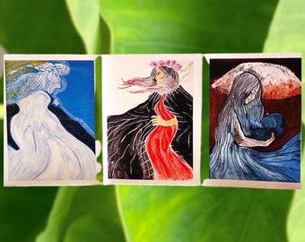 "Greeting Cards, 3 Different Native Hawaiian Goddesses: Pele, Poliʻahu, and Waiau, with Envelopes, 4"" x 6"""