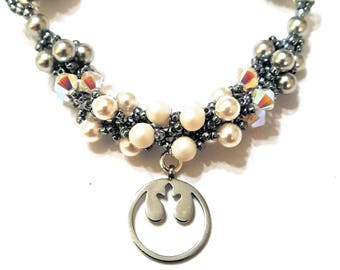 "SW Princess Rebel Beadweaving Necklace ""Leia, My General in Moonlight"""