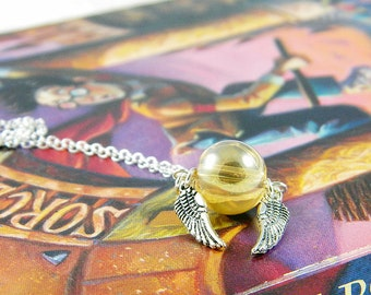 Ready to Ship Magical Winged Snitch Charm Necklace on Sterling Silver Chain