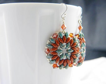 "READY TO SHIP Southwest Turquoise and Ochre Superduo Beadweaving Earrings ""Arches"""