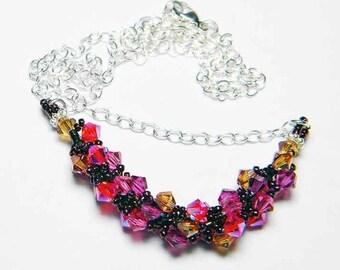 "Crystal Copper Swarovski Necklace Beadweaving Sterling Silver - ""Phoenix Feather"""