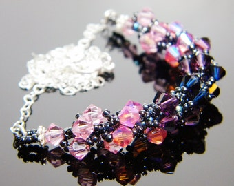 "Rose and Amethyst Swarovski Necklace Hematite AB Dark Indigo Beadweaving Sterling Silver - ""Space"""