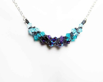 "Blue Zircon Swarovski Necklace Purple Velvet Aquamarine Beadweaving Sterling Silver - ""Phaedra's Garland"""