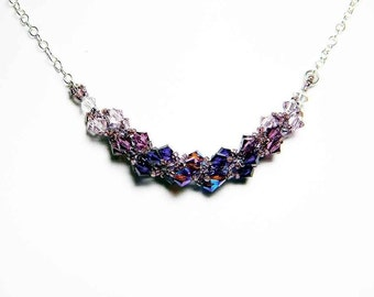 """Purple Swarovski Crystal Necklace Light Amethyst Amethyst Purple Velvet and Sterling Silver -  """"Le Gothique"""" by Whimsy Beading"""