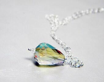 "READY TO SHIP Aqua Green Crystal Teardrop Necklace Sterling Silver - ""Siren's Tear"""
