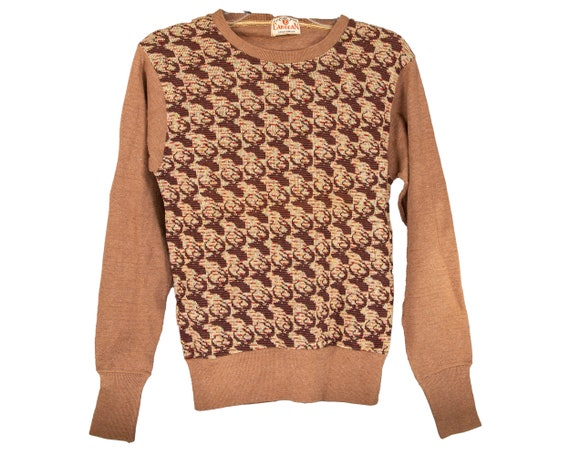 40s - 50s Reindeer Knit Sweater