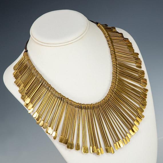 1970s Brass Bib Statement Necklace