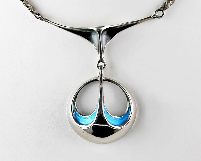 Ottaviani Italian Modernist Sterling and Enamel Necklace image 0