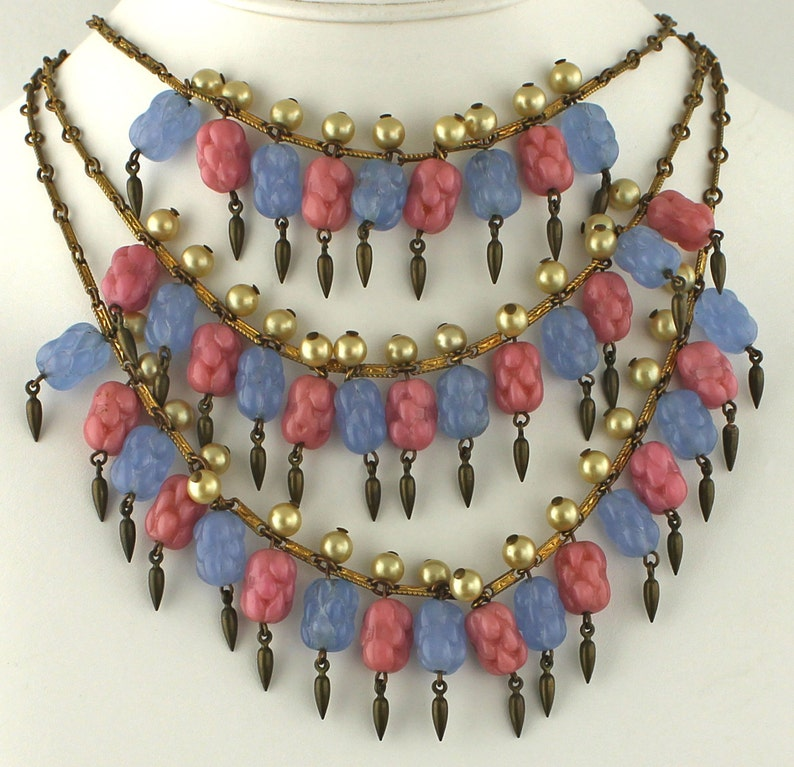 SALE  Edwardian/Deco Necklace  Festooning Glass  1910  image 0