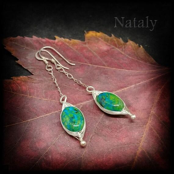 Wire Wrapped Chrysocolla Earrings Sterling Silver 925 Green Blue Gem Drop Earrings