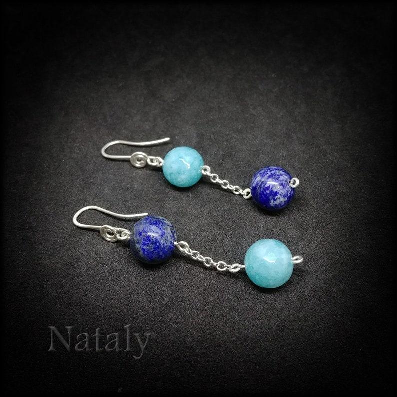 Aquamarine Earrings Sterling Silver Chain Earrings Lapis Earrings Lapis Lazuli Earrings for Women Blue Earrings Mismatched Earrings