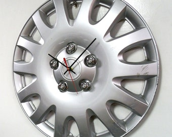 Recycled Hubcap Clock - Silver Automotive Clock - Upcycled Car Clock - Industrial Decor - Large Wall Clock - Kids Room Decor
