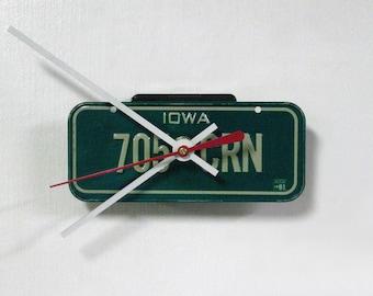 Iowa Bicycle License Tag Wall Clock - Mini 1981 IA License Plate - Gift under 20