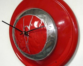 1937 Ford V8 Hubcap Clock - Red Wall Clock - Kitchen Clock