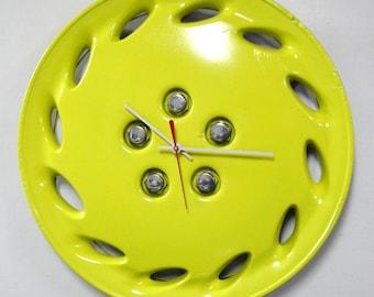 Upcycled Hubcap Clock - Sunny Yellow Wall Clock