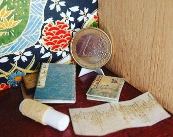 Japanese miniature dollhouse antique books set 7