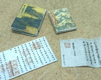 Japanese miniature dollhouse antique books set 6