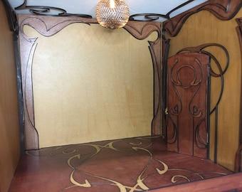 Dollhouse Art Nouveau room box, miniature 1/12 scale.