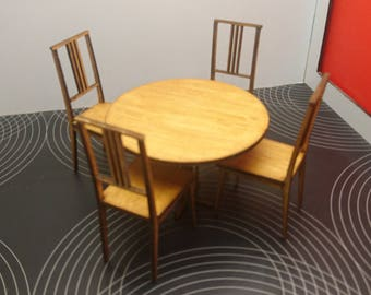 Miniature modern golden oak colour wooden round table with 4 chairs, IKEA inspired, 1/12 scale for dollhouses