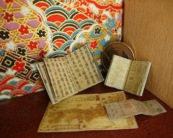 Japanese miniature dollhouse antique books set 4