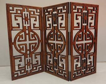 Modern miniature dollhouse oriental folding screen