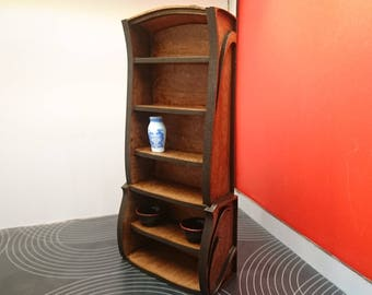 Miniature Art Nouveau mahogany wooden bookcase, living room furniture in 1/12 scale for dollhouses and roomboxes
