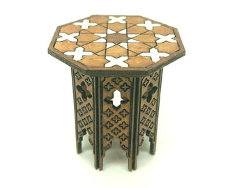 Moroccan furniture, octogonal side table with engraved motifs. Miniature 1/12 scale for dollhouses