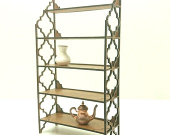 Arabic furniture, delicate shelving unit with Moroccan motifs. Miniature 1/12 scale for dollhouses