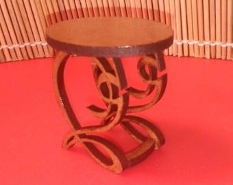 Art Nouveau style mahogany side table , 1/12 miniature for dollhouses