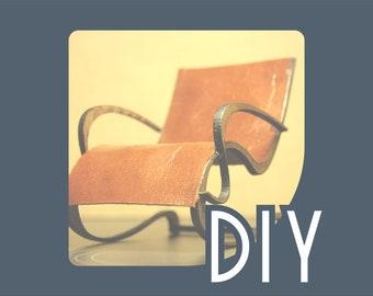 DIY Art Nouveau armchair kit , 1/12 miniature for dollhouses